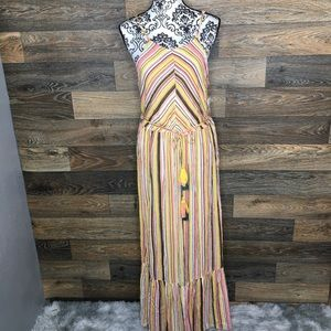 Bailey Blue long stripe yellow maxi dress with tie